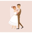 Old-school Newlyweds Dancing At The Wedding Party vector image vector image