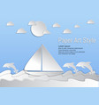 paper art style sea and waves with sailboat and vector image vector image