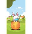 rabbit sitting in egg wearing face mask to prevent vector image vector image