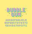 retro bubble gum bold font design alphabet vector image