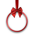 round christmas background with red bow vector image vector image