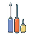 screwdrivers set icon cartoon style vector image