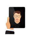 selfie on tablet man vector image