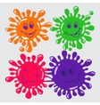 set four cute cartoon blots with smile vector image