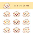 set of 10 colored funny cavy emoticons vector image vector image