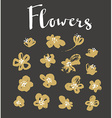 set stylish grunge gold flowers painted dry ink vector image vector image
