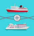 ships and rope with compass vector image vector image