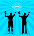 silhouette a man turned to god with prayer vector image vector image