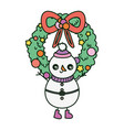 snowman with wreath ribbon merry christmas vector image