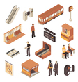 Subway Metro Station Isometric Elements Set vector image vector image