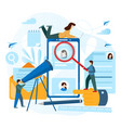 tiny people are looking for a candidate concept vector image vector image