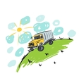 Truck on meadow sketch for your design vector image vector image