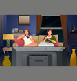 two female friends watching tv and eating ice vector image