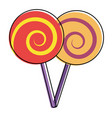two lollipop round spiral sweet with stick vector image vector image