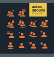 users and groups icon set vector image