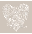 Wedding heart with flowers and birds vector image