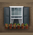 window with flower pots on a wall cartoon house vector image vector image