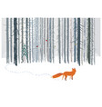 winter forest landscape with a fox vector image vector image