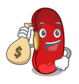 with money bag character red beans for cooking vector image
