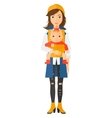 Woman holding baby in sling vector image vector image