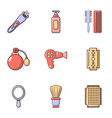 hairdresser tools icons set flat style vector image