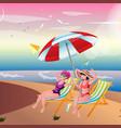 two girls sunbathing on the beach vector image
