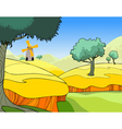 cartoon landscape of a wheat field with trees vector image