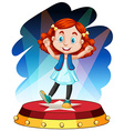 Cute girl dancing on stage vector image