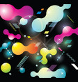 abstract background with bright bubbles on black vector image