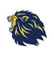 angry lion head mascot roaring logo vector image vector image
