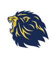 angry lion head mascot roaring logo vector image