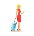 beautiful blond girl in a red dress traveling with vector image vector image