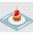 Birthday 2 years Burger hamburger and candle vector image vector image