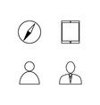 business simple outlined icons set vector image vector image