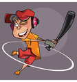 cartoon joyful man with a bat in hand playing vector image vector image