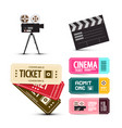 cinema tickets movie items set isolated on white vector image vector image
