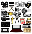 cinematography and retro movie cinema icons vector image vector image