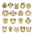colored pictures set heraldic elements vector image