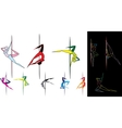Colored pole dancers silhouettes vector image vector image
