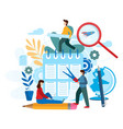 conceptual flat teamwork project tiny people vector image