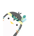 cute card with tribal penguin vector image vector image
