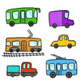 cute cartoon colorful doodle city transport vector image vector image
