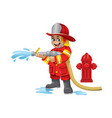 cute cartoon kid of firefighter vector image