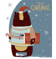 cute christmas bear vector image