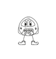 emoticon frightened sketch vector image vector image
