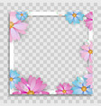 empty photo frame template with spring flowers vector image