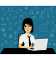 Female employees with icons vector image