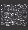 funny dogs doodle set hand drawn sketched pets vector image