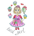 girl around cakes vector image vector image