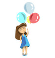 girl with ballons vector image vector image